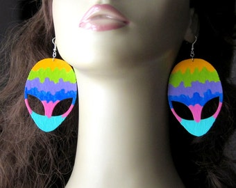 Giant UFO Alien Earrings, Tye Dye Jewelry, Extraterrestrial Painting, Laser Cut Wood, Big Headed Astronaut, Large ET Charm