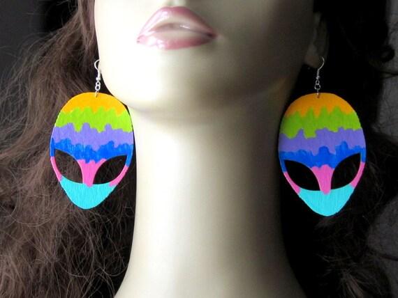 Giant UFO Alien Earrings, Tye Dye Jewelry, Extraterrestrial Painting, Laser Cut Wood, Big Headed Astronaut, Large ET Charm