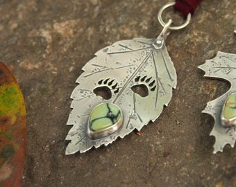 RESERVED ------Veni Vidi Vici Pendant Bear Tracks in Sterling Silver on a Hand Constructed Ash Leaf with Poseidon Variscite
