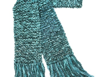 Aqua Teal Scarf, 6 ft Long Chunky Knit Scarf, Turquoise Blue Scarf, Winter Scarf, Hand Knitted Scarf