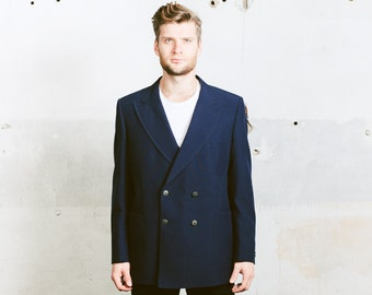 Vintage 80S NAUTICAL Sport Coat . Men's 1980s Double Breasted Blazer 80s Gold Buttons Navy Blue Preppy Jacket . size Large