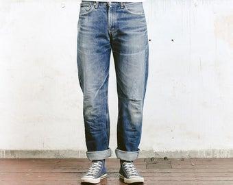 "Vintage Levis 751 Jeans . Vintage Worn In Faded Distressed Size 34"" Jeans Dark Blue Jeans Stonewashed Denim Straight Leg Boyfriend Jeans"