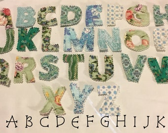 Scrappy set Multicolored UPPERCASE magnetic ABC's Cotton Fabric Letters READY to Ship
