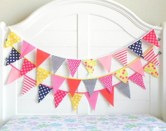 Navy and Pink, Garland, Fabric Garland, Garland Banner, Nautical Bunting, Coral and Navy, Nautical Baby Shower, Nautical Garland, Nursery