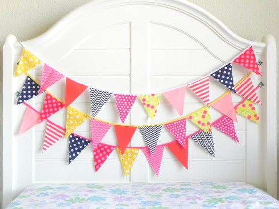 Navy and Pink Bunting Garland