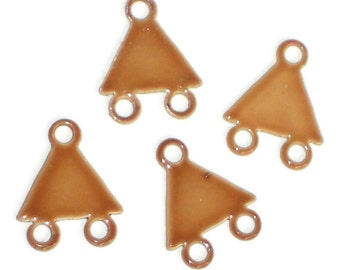 Vintage enameled Connectors Beige Earring Loops modern Findings NOS. #1146C