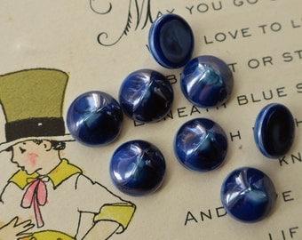 10mm Cobalt Vintage Glass Cabochons Luminous blue Midnight Round Lapis Jewelry supplies Purpleviolets77 #1678