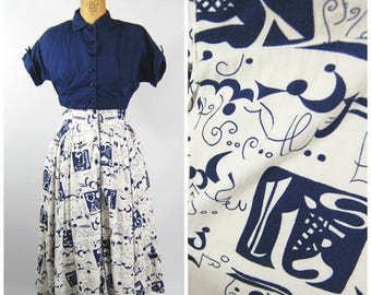 ON SALE 1950s Novelty Print Cotton Dress and Jacket - Kay Windsor - Blue and White Abstract Print - Farsi Pattern