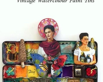 FRIDA KAHLO Collection of Vintage Watercolor Paint Tins, OOAK, Mixed Media art, Assemblage, Ever After, No.8