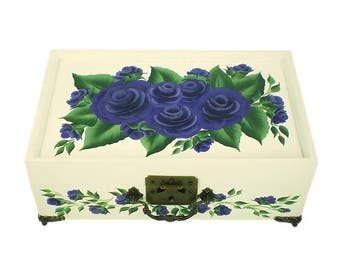 Hand Painted Jewelry Box with Mirror, 2 Trays - Blue-Violet Purple Roses on White Box - Custom Flowers Jewellry Box Keepsake Box