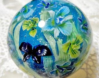 Iris Garden with Butterfly Satake Glass Lampwork Flower Marble sra