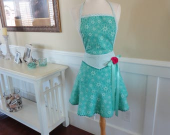 Spring Fun in Aqua Blue ~  Mia Style ~ 4RetroSisters Retro Modern Kitchen Apron