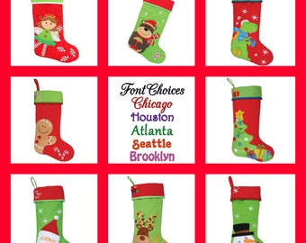 Monogram Christmas Stocking Personalized Stocking Stephen Joseph Christmas Stocking 8 Designs FREE Embroidered Name