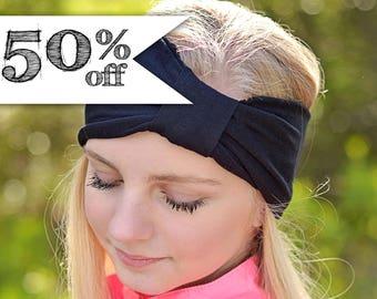 50% off - Slightly Damaged - Black Turban Headband Sale