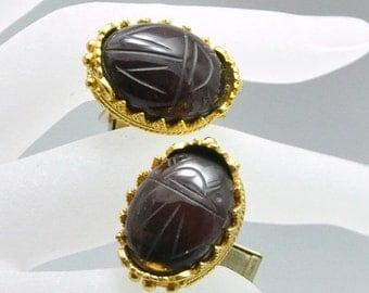 Vintage Scarab Cuff Links Carved Brown Beetle