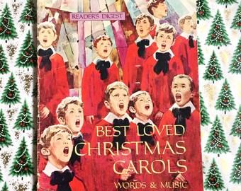 """Best LOVED Christmas Carols- Words & Music Book- 1970- Readers Digest- 20 Songs- Piano- Guitar- Organ- Arrangements- 12"""" x 9""""- Vintage"""