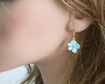 Blue Enamel Flower Earrings, Casual Earrings, Blue Flower Earrings, Lucky Flower, Five Leaf Flower Earrings, Trendy Earrings, Blue Earrings