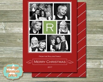 Photo Christmas Card, Custom Holiday Photo Card, Christmas Card Collage, Multiple Photos, Traditional Christmas, Costco Print Size Option