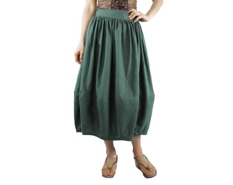 Balloon Skirt - Chic Funky Green Cotton Mix Linen Balloon Shape Midi Skirt