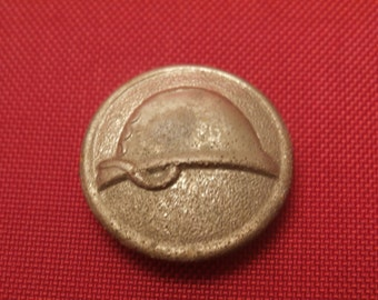 Antique Aluminum Button, Helmet or Hat Design, Possibly Occupational or Uniform