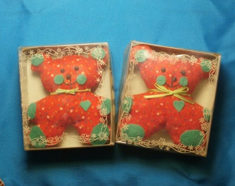 2 Calico and Felt Teddy Bears Christmas Ornament Lot, Vintage Giftco 1983 Velvet and Lace Decoration