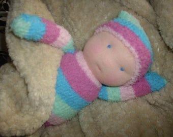 waldorf doll, babies first doll, sock doll, softie, waldorf, amigurumi, baby toy, play