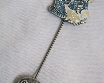 Pewter tone enamel Madonna & child stick pin with peace end cap