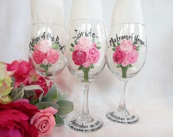 Hand Painted Mother of the Bride and Groom Wine Glasses - Bridal Party Wine Glasses - Bridal Party Glassware for Mother of the Bride & Groom