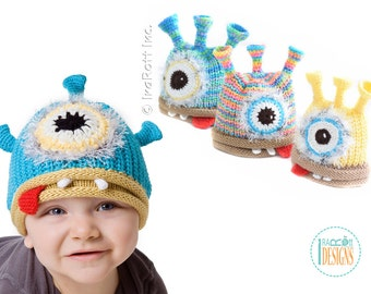 KNIT PATTERN Plutonian Paul Alien Beanie Hat PDF Knit Pattern with Instant Download