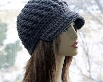 Crochet  Newsboy Beanie Hat   newsboy beanie womens beanie brim   cap, crochet   newsboy cap chunky   crochet hat  thick and EXTRA Warm hat
