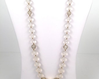Vintage 1980s Clear Beaded Nexklace with Gold Accents