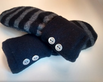Black and gray stripes, double buttons, medium mittens, recycled sweaters, women's mittens, fleece lined mittens