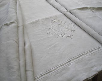 Beautiful fine antique French pure linen sheet, a heavenly curtain or wonderful summer bed cover