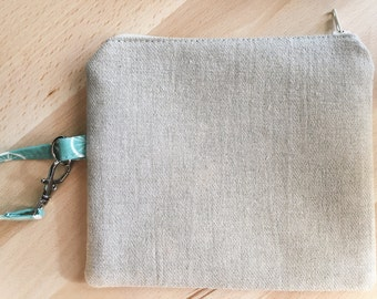 Organic Eco-Friendly Blue Cotton and Linen Zip Bag with Birds and a Clip