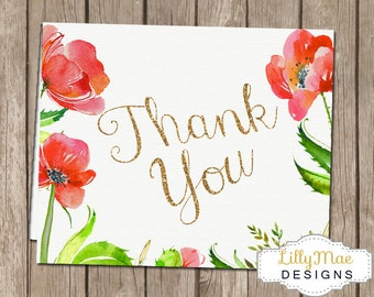 Red Poppy Thank you Cards, Baby Shower Thank you Notes, Watercolor Thank You, Floral Thank you Cards, Printable Thank you, Red Poppies