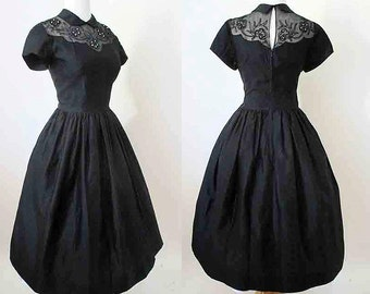 Delightful 1950's Black Cocktail Dress with Illusion Neckline Vintage Chic Party Dress rockabilly pinup girl size Medium & tall