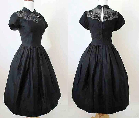 CLEARANCE Delightful 1950's Black Cocktail Dress with Illusion Neckline Vintage Chic Party Dress rockabilly pinup girl size Medium & tall