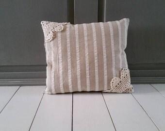 Accent Pillow-Throw Pillow-Beige and White Stripped Pillow-Doily Pillow-Neutral Pillow
