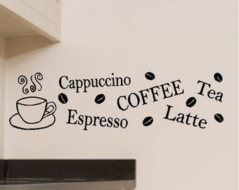 Coffee Cappuccino Espresso Latte Tea ....Coffee Cappuccino Wall Quote Words Sayings Removable Coffee Design Wall Decal Lettering