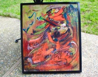 "Varda Razy Abstract Painting Mid Century Modern - 1960s - 25 x 21"""