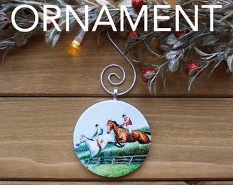 Horse Race Ornament, Christmas Tree Decoration, Tree Ornament, Vintage Ornament, Horse Gift, Christmas Gift, Stocking Stuffer, Free Shipping