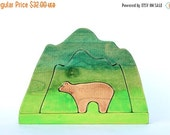 ON SALE wood stacking toys, bear and mountain stacker, waldorf toys, wood baby toys, toddler wooden toys, wooden puzzle