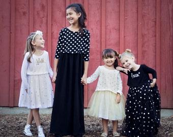 Girls Dress Pattern, Sewing Pattern, Matilda Jane, Long Sleeve & Maxi Dress Sewing Pattern, Confetti Dot