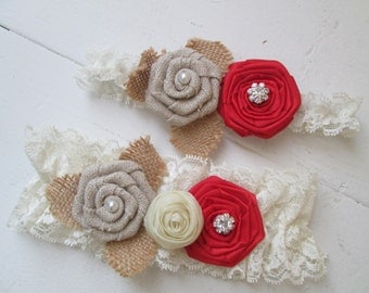 RED Valentine WEDDING Garter Set Rustic Burlap Garters Ivory Lace Red