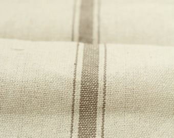 Grain Sack Fabric by the Yard- Three Stripe Tan