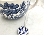 Vintage Blue Willow Birds Necklace