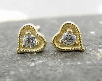 Heart stud earrings, 14K yellow gold, cute studs, diamond simulate