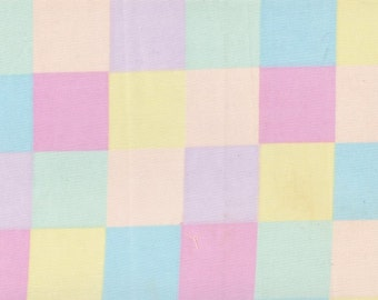 """Pastel Plaid Remnant Yellow ~ Pink ~ Blue ~ Lavender ~ Green  11"""" Wide By 1 3/4 Yards Long Cotton Blend Material Sewing Fabric - Item # 17 H"""