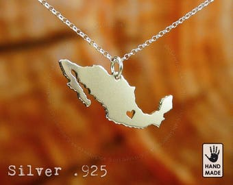 MEXICO Map Handmade Personalized Sterling Silver .925 Necklace in a gift box