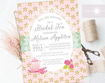 Tea Party Invitation, Bridal Tea Invite, Tea Party Invite,  High Tea, Bridal Brunch, Digital File, Tea Pot, Blush, Floral, jadorepaperie